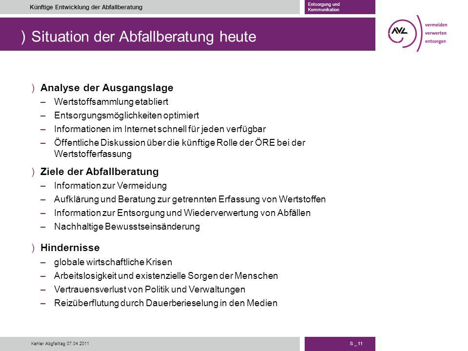 ) S _ 11 Künftige Entwicklung der Abfallberatung Entsorgung und Kommunikation Kehler Abgfalltag 07.04.2011 Situation der Abfallberatung heute )Analyse