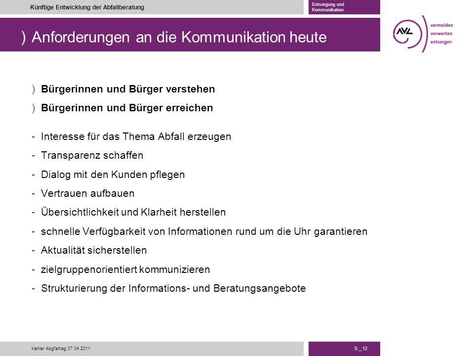 ) S _ 12 Künftige Entwicklung der Abfallberatung Entsorgung und Kommunikation Kehler Abgfalltag 07.04.2011 Anforderungen an die Kommunikation heute )B