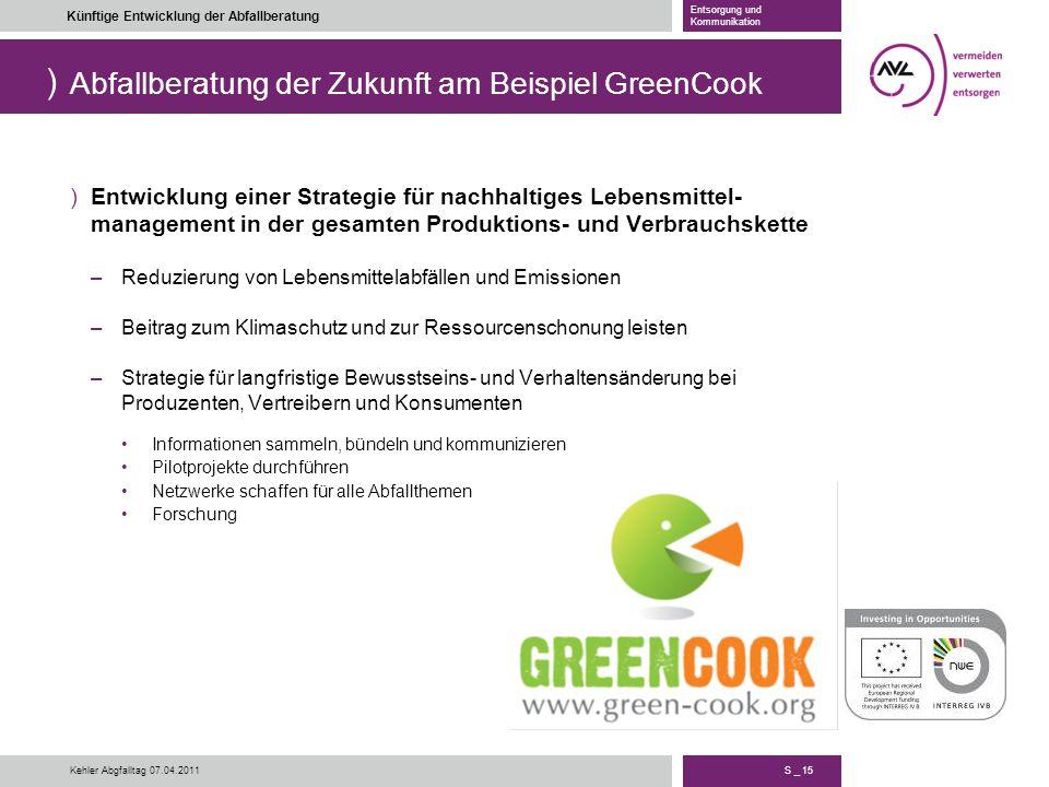 ) S _ 15 Künftige Entwicklung der Abfallberatung Entsorgung und Kommunikation Kehler Abgfalltag 07.04.2011 Abfallberatung der Zukunft am Beispiel Gree