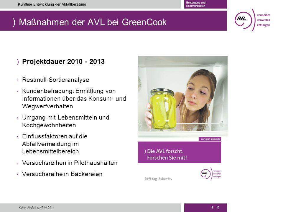 ) S _ 16 Künftige Entwicklung der Abfallberatung Entsorgung und Kommunikation Kehler Abgfalltag 07.04.2011 Maßnahmen der AVL bei GreenCook )Projektdau