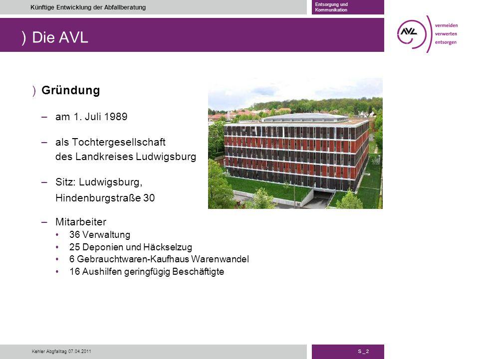) S _ 2 Künftige Entwicklung der Abfallberatung Entsorgung und Kommunikation Kehler Abgfalltag 07.04.2011 Die AVL )Gründung –am 1. Juli 1989 –als Toch