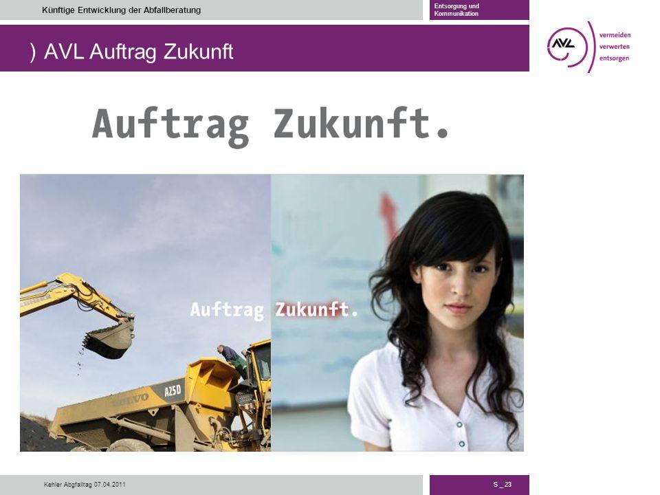 ) S _ 23 Künftige Entwicklung der Abfallberatung Entsorgung und Kommunikation Kehler Abgfalltag 07.04.2011 AVL Auftrag Zukunft