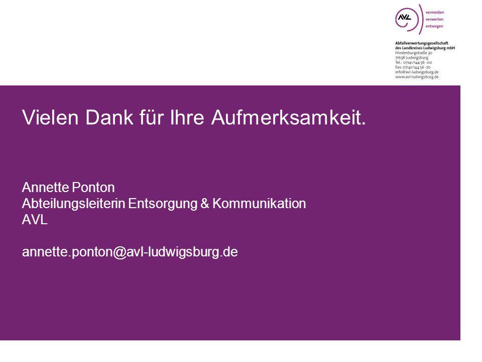 Vielen Dank für Ihre Aufmerksamkeit. Annette Ponton Abteilungsleiterin Entsorgung & Kommunikation AVL annette.ponton@avl-ludwigsburg.de