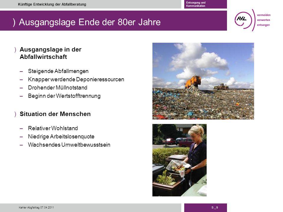 ) S _ 5 Künftige Entwicklung der Abfallberatung Entsorgung und Kommunikation Kehler Abgfalltag 07.04.2011 Ausgangslage Ende der 80er Jahre )Ausgangsla
