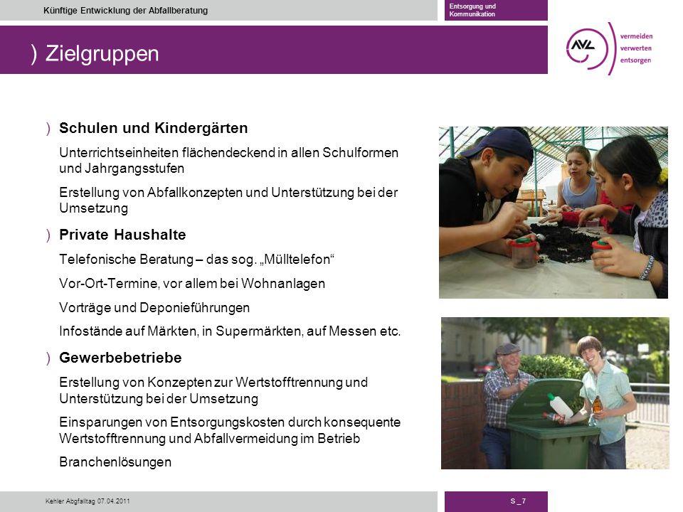 ) S _ 7 Künftige Entwicklung der Abfallberatung Entsorgung und Kommunikation Kehler Abgfalltag 07.04.2011 Zielgruppen )Schulen und Kindergärten Unterr