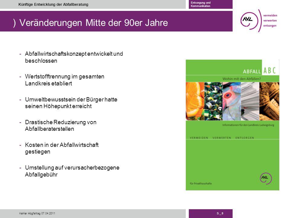 ) S _ 8 Künftige Entwicklung der Abfallberatung Entsorgung und Kommunikation Kehler Abgfalltag 07.04.2011 Veränderungen Mitte der 90er Jahre -Abfallwi