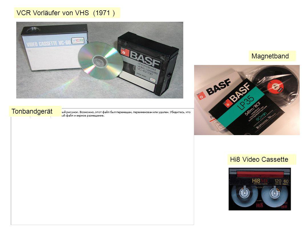 Magnetband Hi8 Video Cassette Tonbandgerät VCR Vorläufer von VHS (1971 )