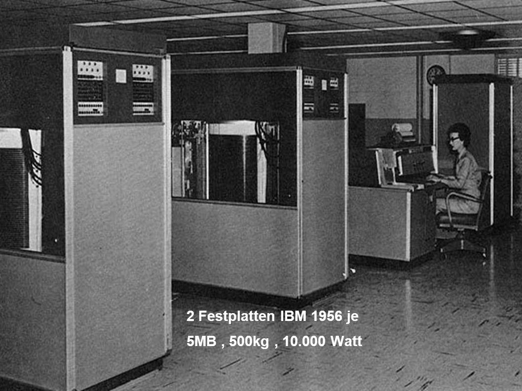 Festplatte IBM 1956, Kapazität: 5 MB 2 Festplatten IBM 1956 je 5MB, 500kg, 10.000 Watt