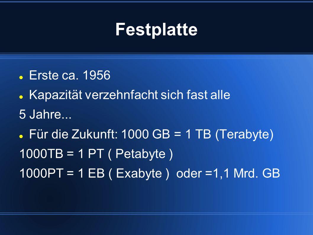 Festplatte Erste ca. 1956 Kapazität verzehnfacht sich fast alle 5 Jahre... Für die Zukunft: 1000 GB = 1 TB (Terabyte) 1000TB = 1 PT ( Petabyte ) 1000P