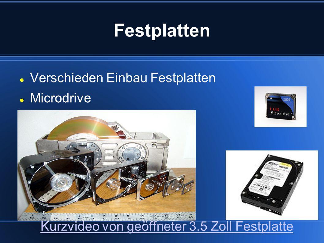 Festplatten Verschieden Einbau Festplatten Microdrive Kurzvideo von geöffneter 3.5 Zoll Festplatte