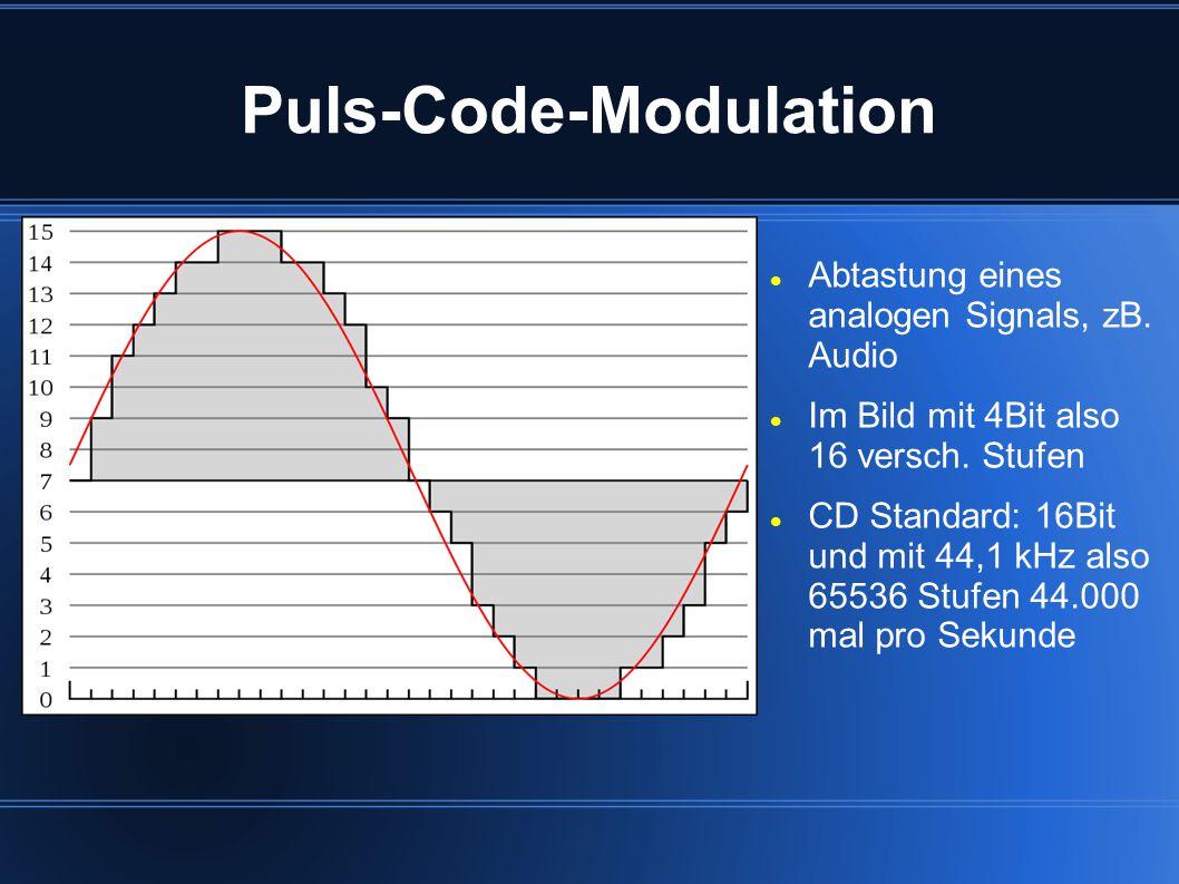 Puls-Code-Modulation Abtastung eines analogen Signals, zB. Audio Im Bild mit 4Bit also 16 versch. Stufen CD Standard: 16Bit und mit 44,1 kHz also 6553
