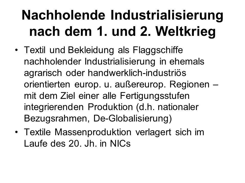 Nachholende Industrialisierung nach dem 1. und 2. Weltkrieg Textil und Bekleidung als Flaggschiffe nachholender Industrialisierung in ehemals agrarisc