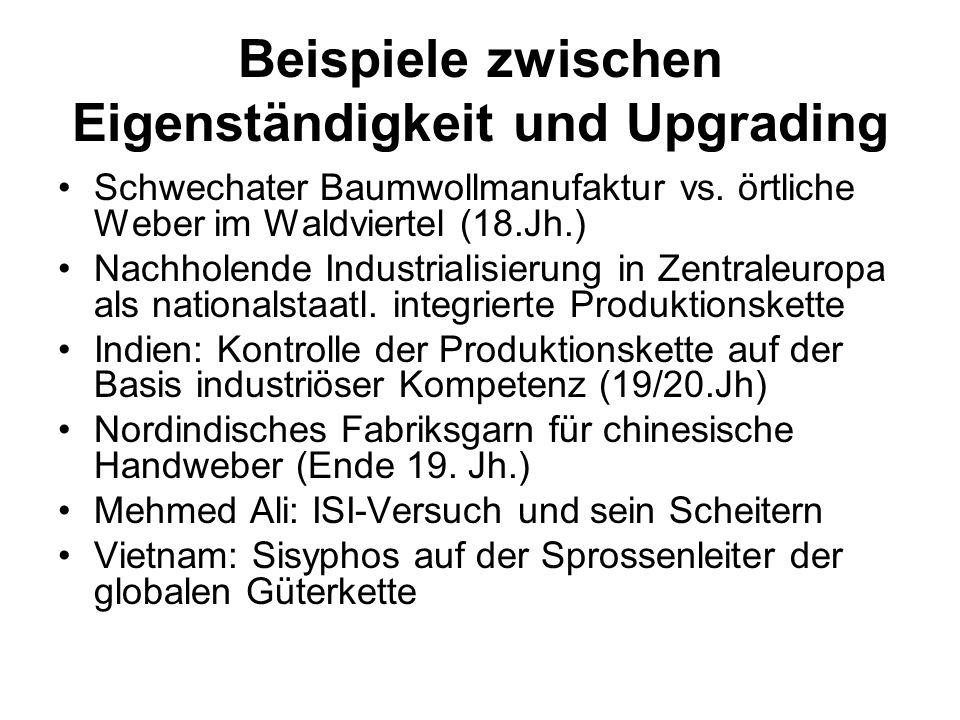 Beispiele zwischen Eigenständigkeit und Upgrading Schwechater Baumwollmanufaktur vs. örtliche Weber im Waldviertel (18.Jh.) Nachholende Industrialisie