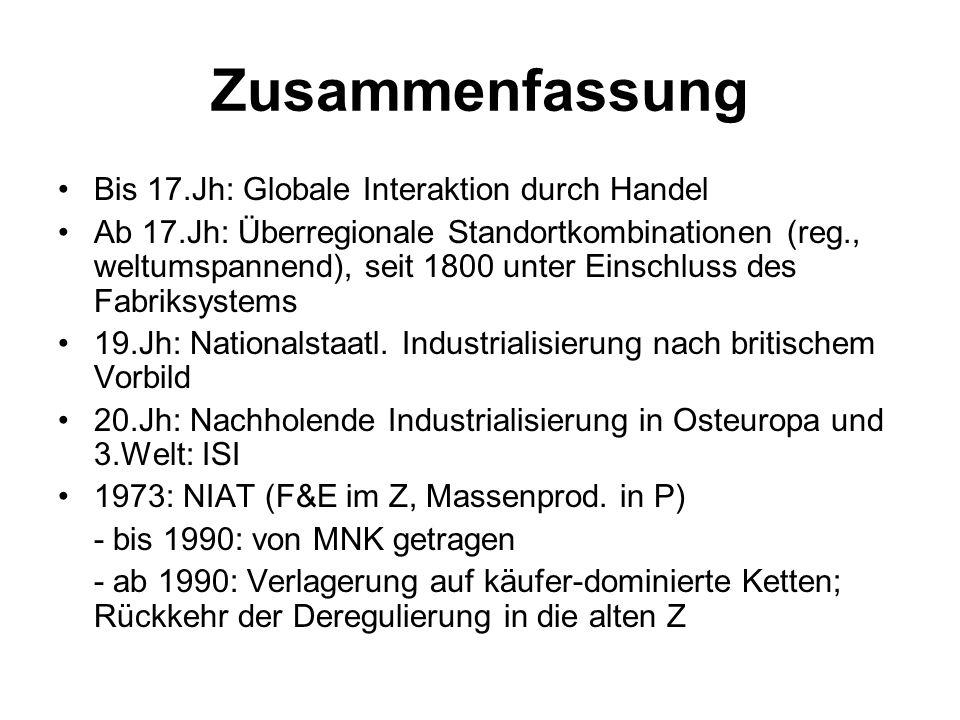 Zusammenfassung Bis 17.Jh: Globale Interaktion durch Handel Ab 17.Jh: Überregionale Standortkombinationen (reg., weltumspannend), seit 1800 unter Eins