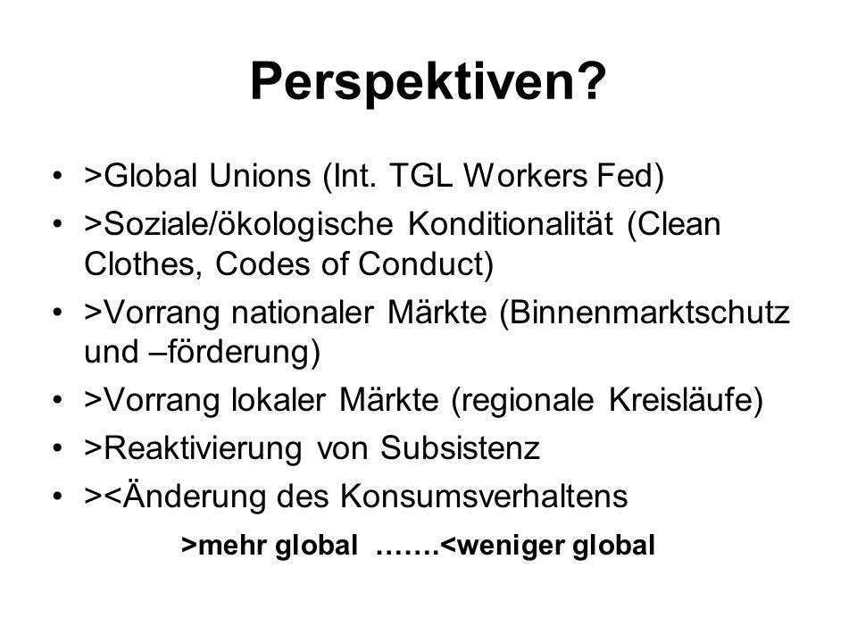 Perspektiven? >Global Unions (Int. TGL Workers Fed) >Soziale/ökologische Konditionalität (Clean Clothes, Codes of Conduct) >Vorrang nationaler Märkte