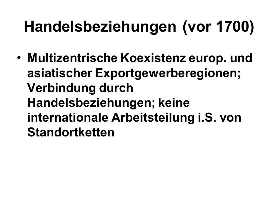 Manufaktur & Verlag (1700-1820) Ausbreitung des Manufaktur- und Verlagssystems - Verbindung von Standorten mit unterschiedlichen Arbeitsverhältnissen in Produktionsketten (innerhalb und zwischen Weltregionen), z.B.