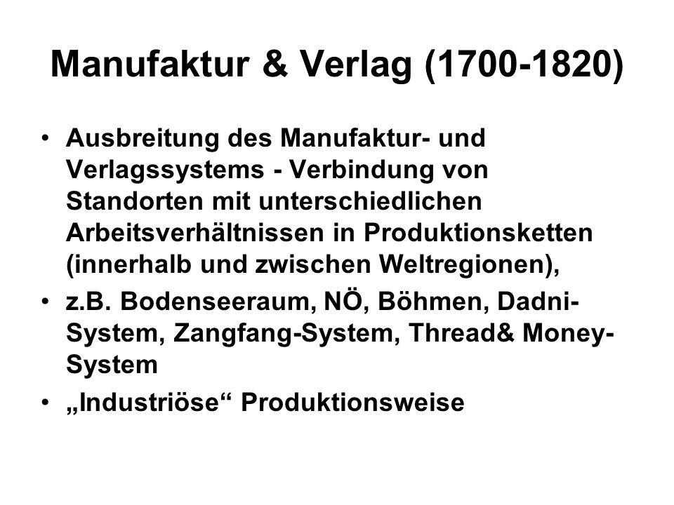 Fabriksystem in NW-Europa (1800 - 1914) Einführung des Fabriksystems in GB (ab 1780) und NW-Europa, in der Folge nachholende Fabriks- Industrialisierung in anderen europäischen Regionen und in den USA; Regional auch in Nordindien, Japan und Mexico.
