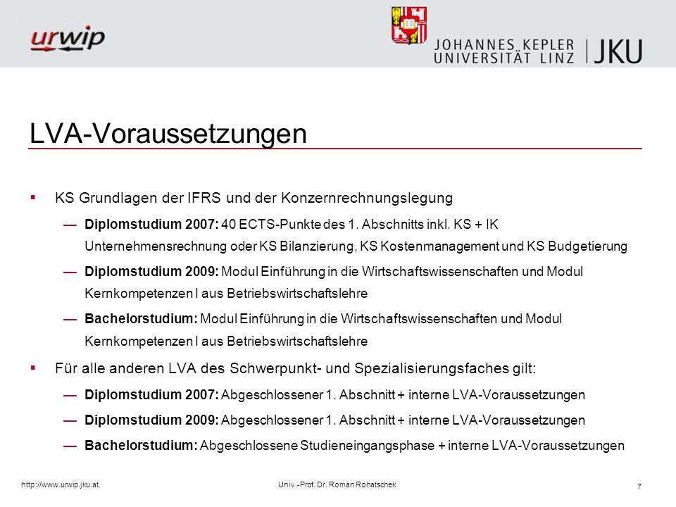 8 http://www.urwip.jku.atUniv.-Prof. Dr. Roman Rohatschek Schwerpunktfach (8 SSt), Studienplan 2007