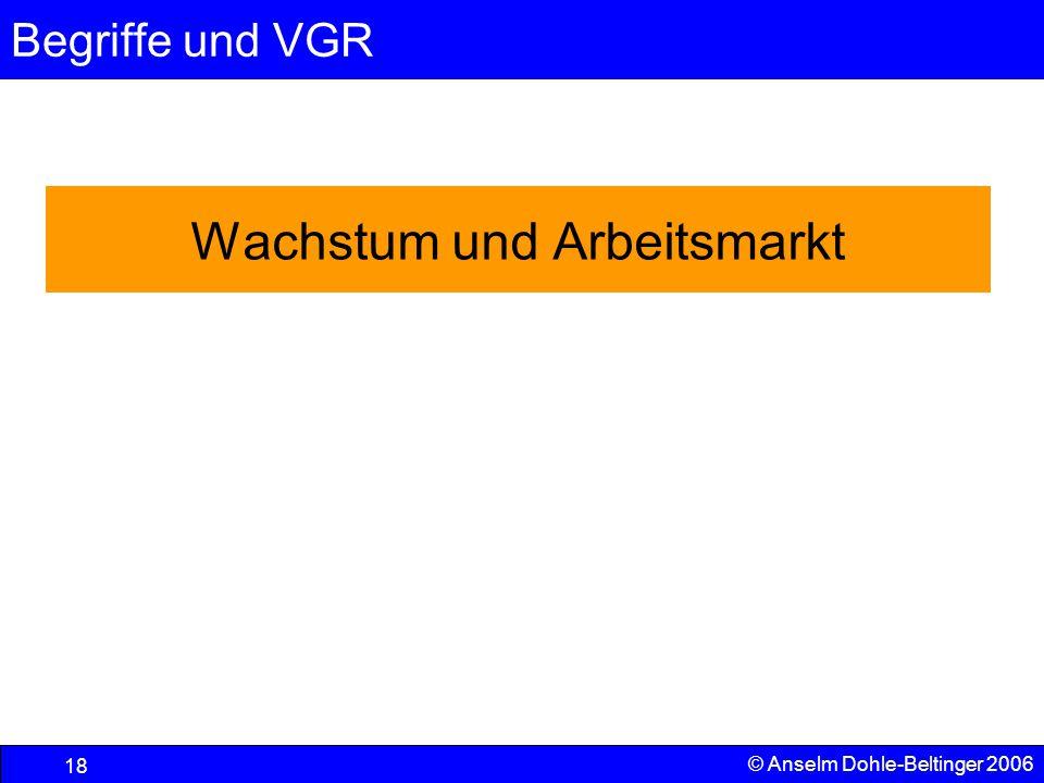 Begriffe und VGR 18 © Anselm Dohle-Beltinger 2006 Wachstum und Arbeitsmarkt