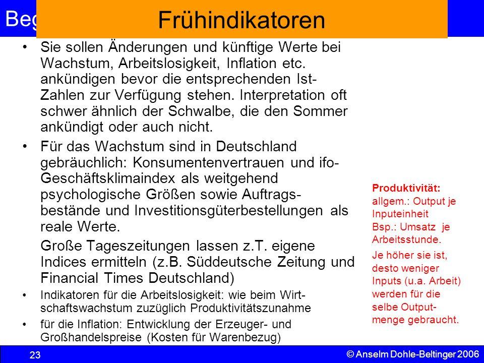 Begriffe und VGR 23 © Anselm Dohle-Beltinger 2006 Frühindikatoren Sie sollen Änderungen und künftige Werte bei Wachstum, Arbeitslosigkeit, Inflation e