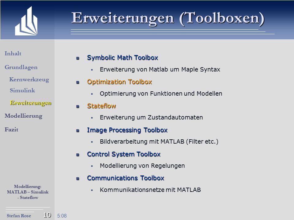 Stefan Rose Modellierung: MATLAB – Simulink - Stateflow 5:09 10 Erweiterungen (Toolboxen) Symbolic Math Toolbox Symbolic Math Toolbox Erweiterung von