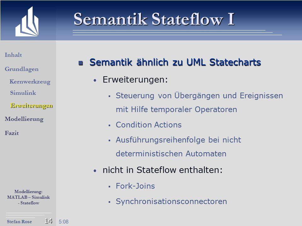 Stefan Rose Modellierung: MATLAB – Simulink - Stateflow 5:09 14 Semantik Stateflow I Semantik ähnlich zu UML Statecharts Semantik ähnlich zu UML State