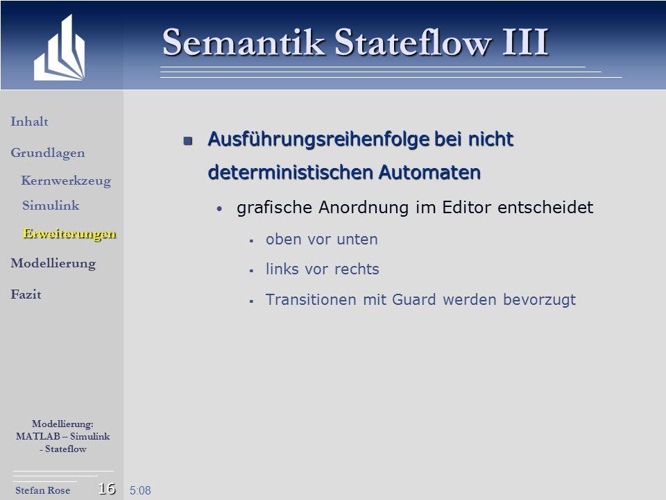 Stefan Rose Modellierung: MATLAB – Simulink - Stateflow 5:09 16 Ausführungsreihenfolge bei nicht deterministischen Automaten Ausführungsreihenfolge be