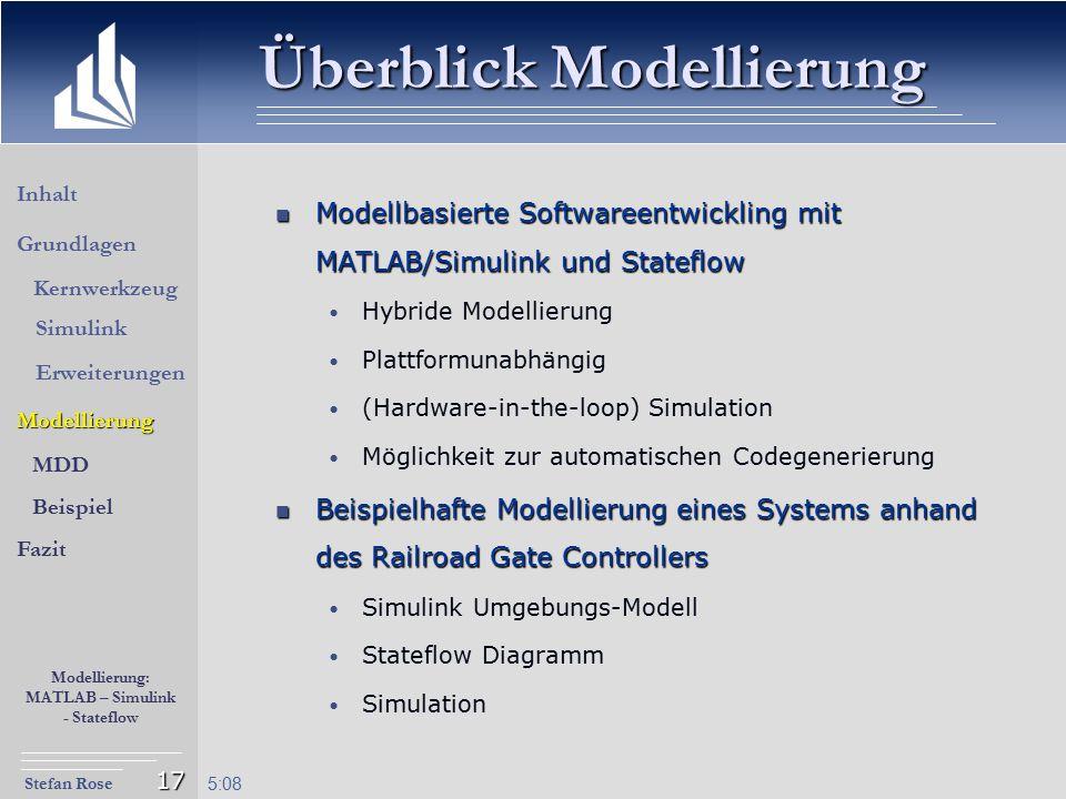 Stefan Rose Modellierung: MATLAB – Simulink - Stateflow 5:09 17 Überblick Modellierung Modellbasierte Softwareentwickling mit MATLAB/Simulink und Stat