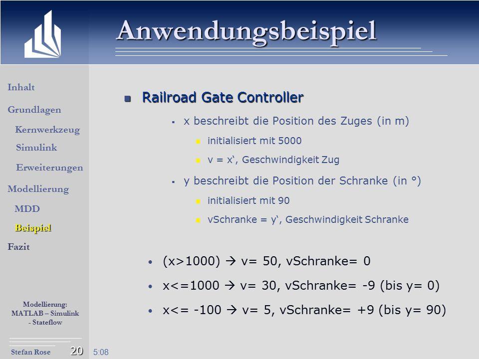 Stefan Rose Modellierung: MATLAB – Simulink - Stateflow 5:09 20 Anwendungsbeispiel Railroad Gate Controller Railroad Gate Controller  x beschreibt di