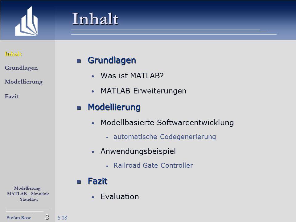 Stefan Rose Modellierung: MATLAB – Simulink - Stateflow 5:09 3 Inhalt Grundlagen Grundlagen Was ist MATLAB? MATLAB Erweiterungen Modellierung Modellie