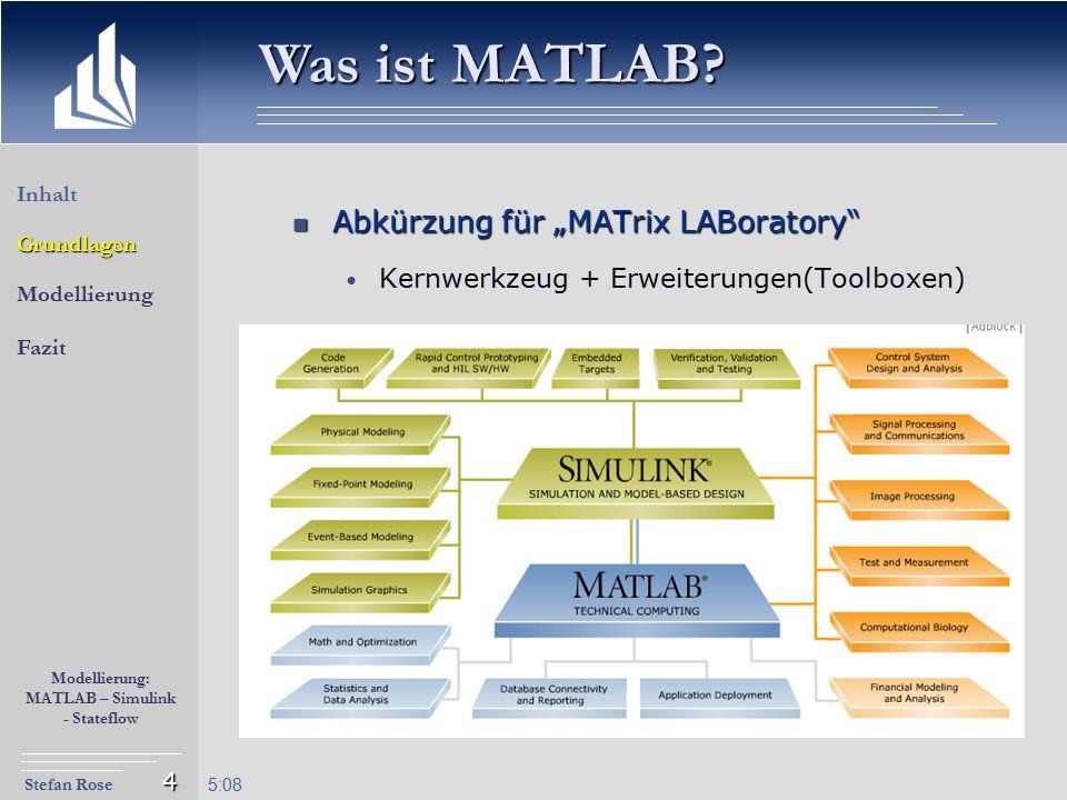 """Stefan Rose Modellierung: MATLAB – Simulink - Stateflow 5:09 4 Abkürzung für """"MATrix LABoratory"""" Abkürzung für """"MATrix LABoratory"""" Kernwerkzeug + Erwe"""