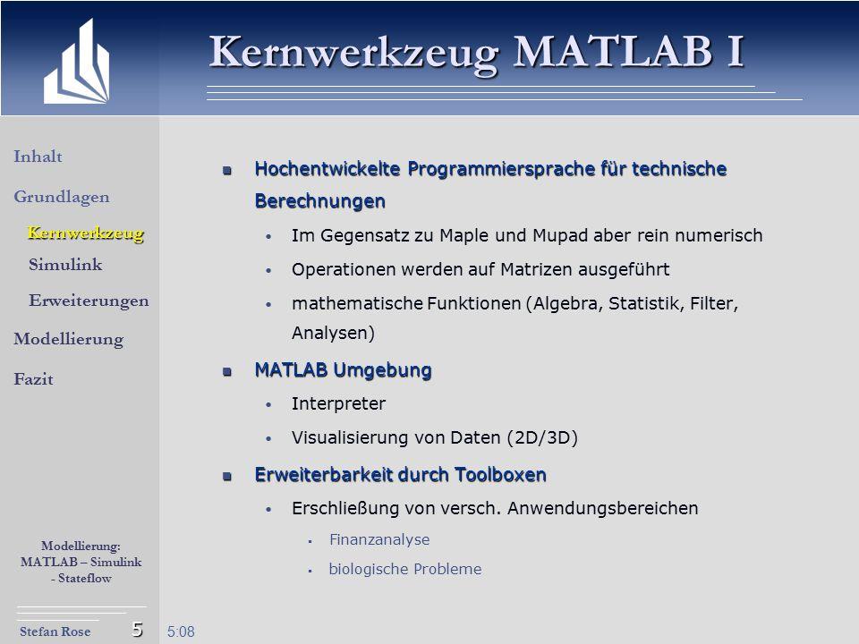 Stefan Rose Modellierung: MATLAB – Simulink - Stateflow 5:09 5 Kernwerkzeug MATLAB I Kernwerkzeug MATLAB I Hochentwickelte Programmiersprache für tech