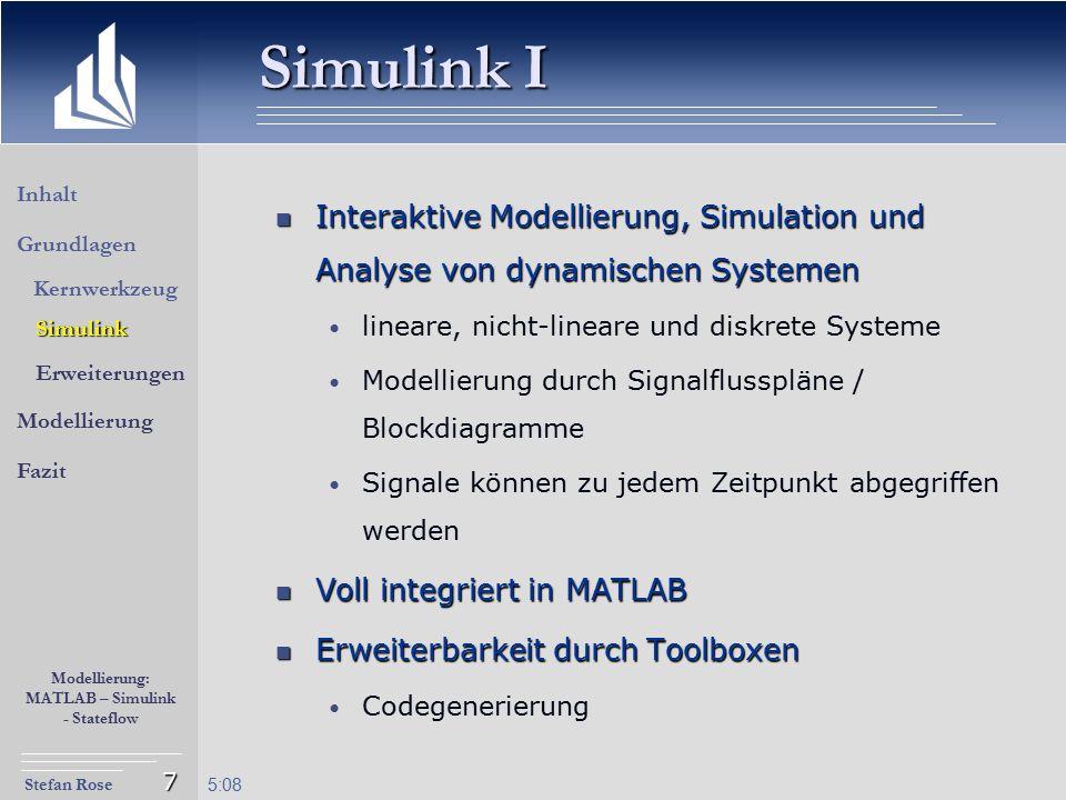 Stefan Rose Modellierung: MATLAB – Simulink - Stateflow 5:09 7 Simulink I Interaktive Modellierung, Simulation und Analyse von dynamischen Systemen In