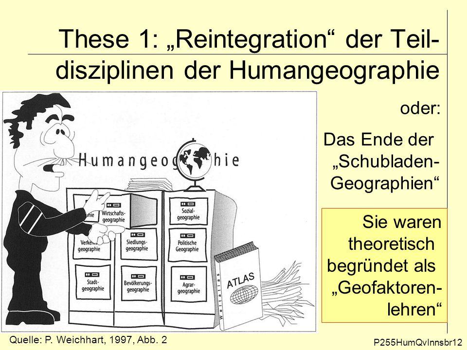 """These 1: """"Reintegration"""" der Teil- disziplinen der Humangeographie P255HumQvInnsbr12 oder: Das Ende der """"Schubladen- Geographien"""" Sie waren theoretisc"""