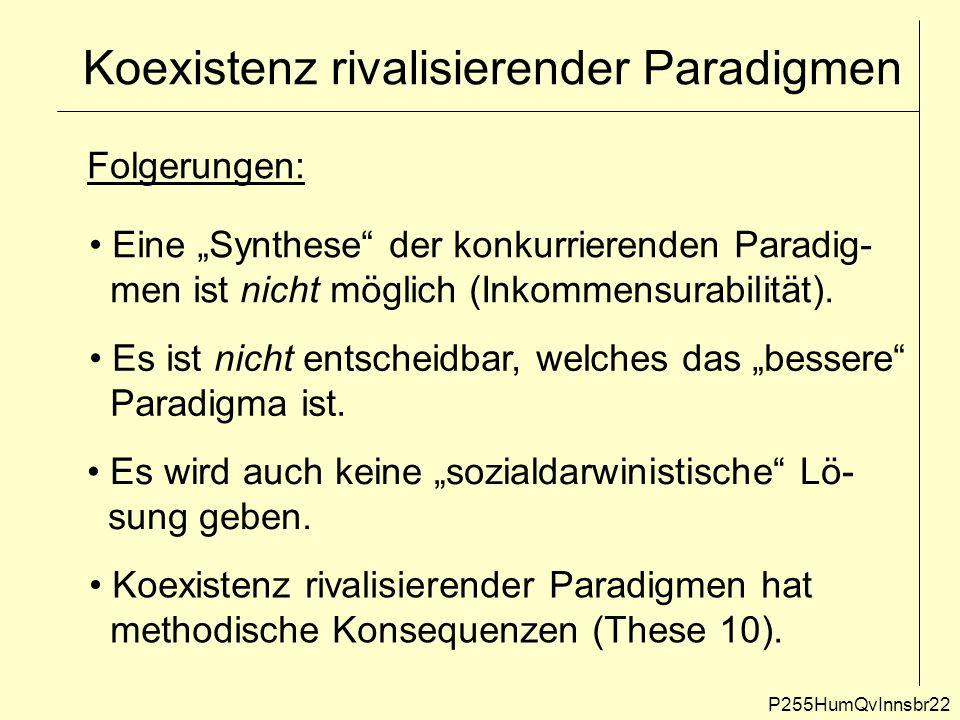 """Koexistenz rivalisierender Paradigmen P255HumQvInnsbr22 Folgerungen: Eine """"Synthese"""" der konkurrierenden Paradig- men ist nicht möglich (Inkommensurab"""