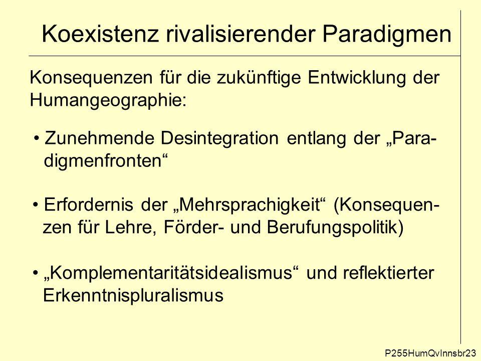 Koexistenz rivalisierender Paradigmen P255HumQvInnsbr23 Konsequenzen für die zukünftige Entwicklung der Humangeographie: Zunehmende Desintegration ent