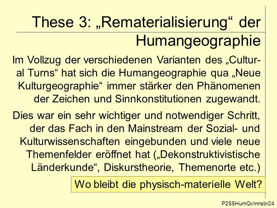 """These 3: """"Rematerialisierung"""" der Humangeographie P255HumQvInnsbr24 Im Vollzug der verschiedenen Varianten des """"Cultur- al Turns"""" hat sich die Humange"""