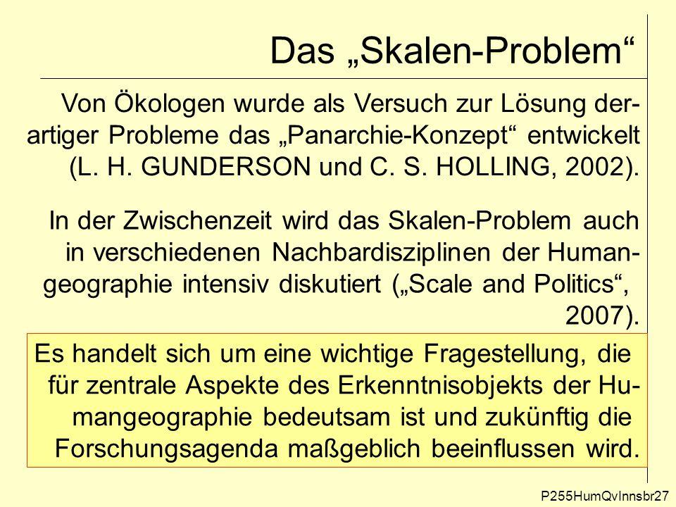 """Das """"Skalen-Problem"""" P255HumQvInnsbr27 Von Ökologen wurde als Versuch zur Lösung der- artiger Probleme das """"Panarchie-Konzept"""" entwickelt (L. H. GUNDE"""