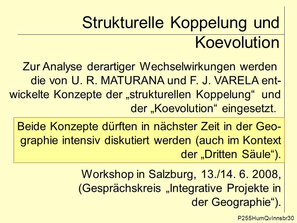 Strukturelle Koppelung und Koevolution P255HumQvInnsbr30 Zur Analyse derartiger Wechselwirkungen werden die von U. R. MATURANA und F. J. VARELA ent- w