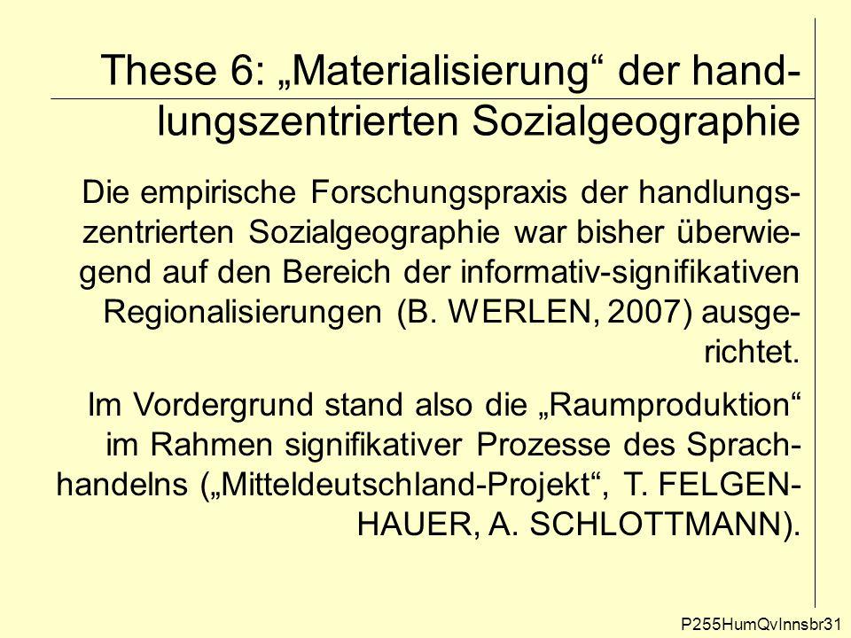 """These 6: """"Materialisierung"""" der hand- lungszentrierten Sozialgeographie P255HumQvInnsbr31 Die empirische Forschungspraxis der handlungs- zentrierten S"""