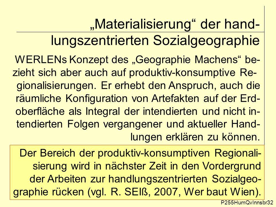 """""""Materialisierung"""" der hand- lungszentrierten Sozialgeographie P255HumQvInnsbr32 WERLENs Konzept des """"Geographie Machens"""" be- zieht sich aber auch auf"""