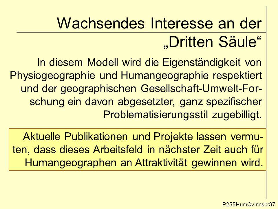 """Wachsendes Interesse an der """"Dritten Säule"""" P255HumQvInnsbr37 In diesem Modell wird die Eigenständigkeit von Physiogeographie und Humangeographie resp"""