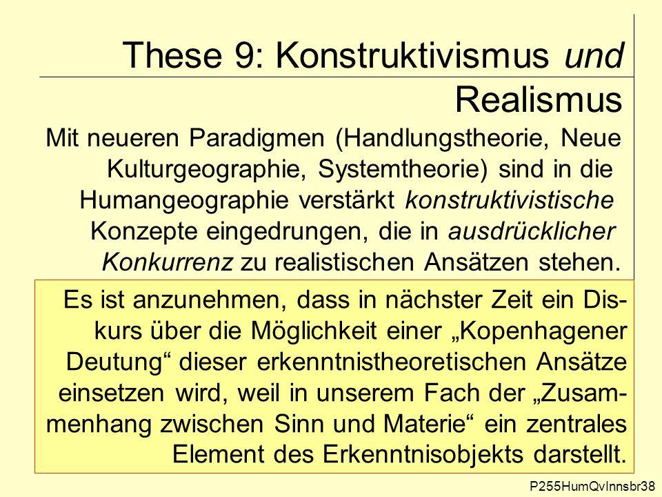 These 9: Konstruktivismus und Realismus P255HumQvInnsbr38 Mit neueren Paradigmen (Handlungstheorie, Neue Kulturgeographie, Systemtheorie) sind in die