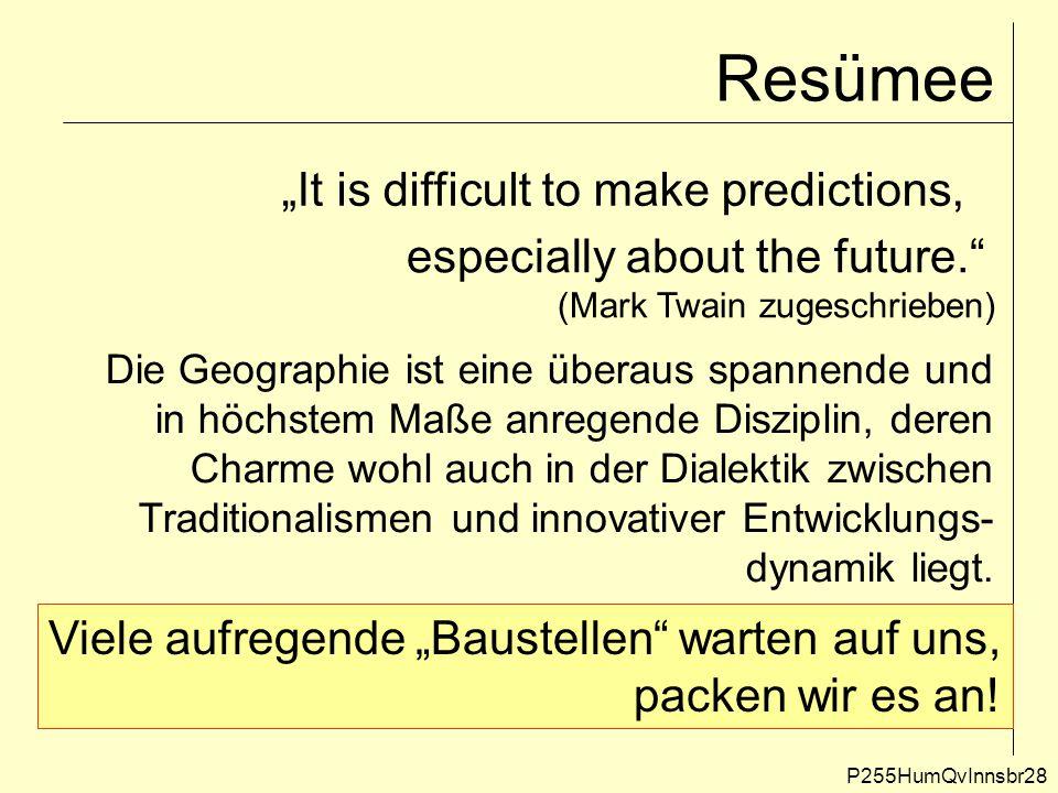 """Resümee P255HumQvInnsbr28 """"It is difficult to make predictions, especially about the future."""" (Mark Twain zugeschrieben) Die Geographie ist eine übera"""