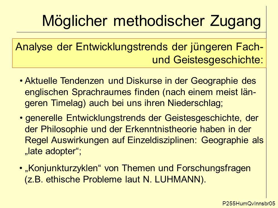 Möglicher methodischer Zugang P255HumQvInnsbr05 Analyse der Entwicklungstrends der jüngeren Fach- und Geistesgeschichte: Aktuelle Tendenzen und Diskur