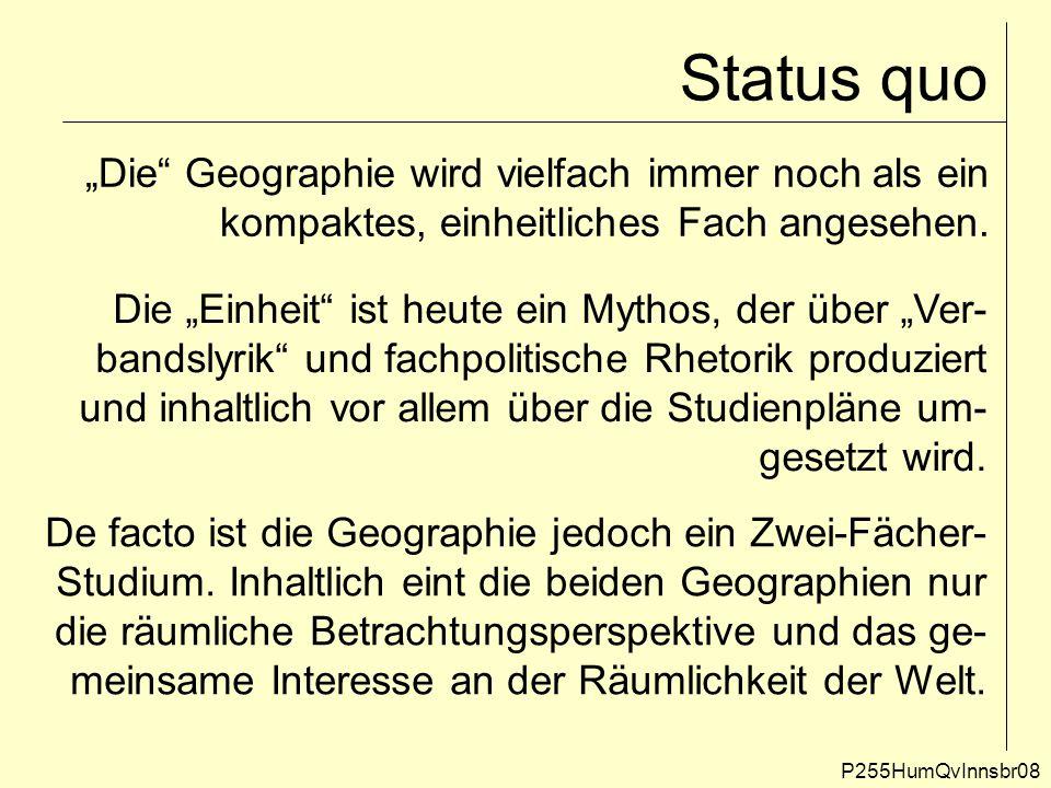 """Status quo P255HumQvInnsbr08 """"Die"""" Geographie wird vielfach immer noch als ein kompaktes, einheitliches Fach angesehen. Die """"Einheit"""" ist heute ein My"""