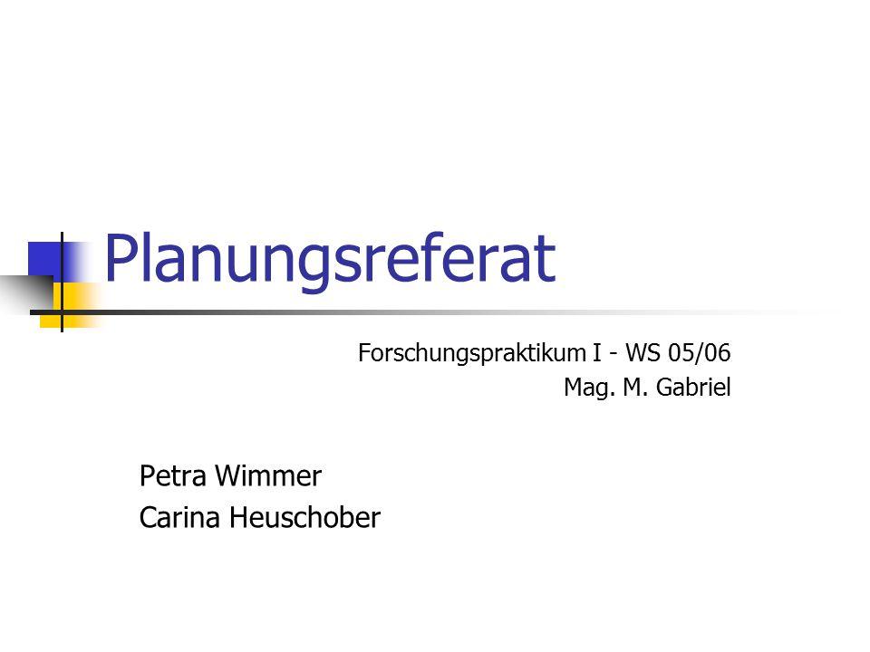 Planungsreferat Forschungspraktikum I - WS 05/06 Mag. M. Gabriel Petra Wimmer Carina Heuschober