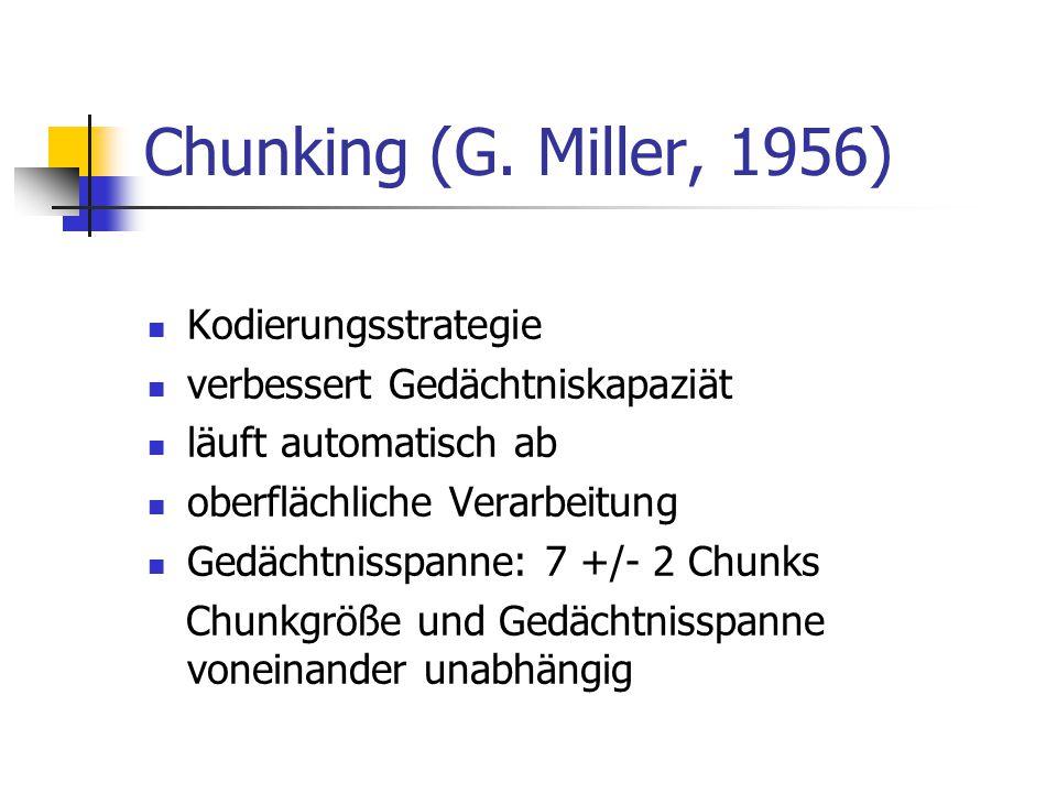 Chunking (G. Miller, 1956) Kodierungsstrategie verbessert Gedächtniskapaziät läuft automatisch ab oberflächliche Verarbeitung Gedächtnisspanne: 7 +/-