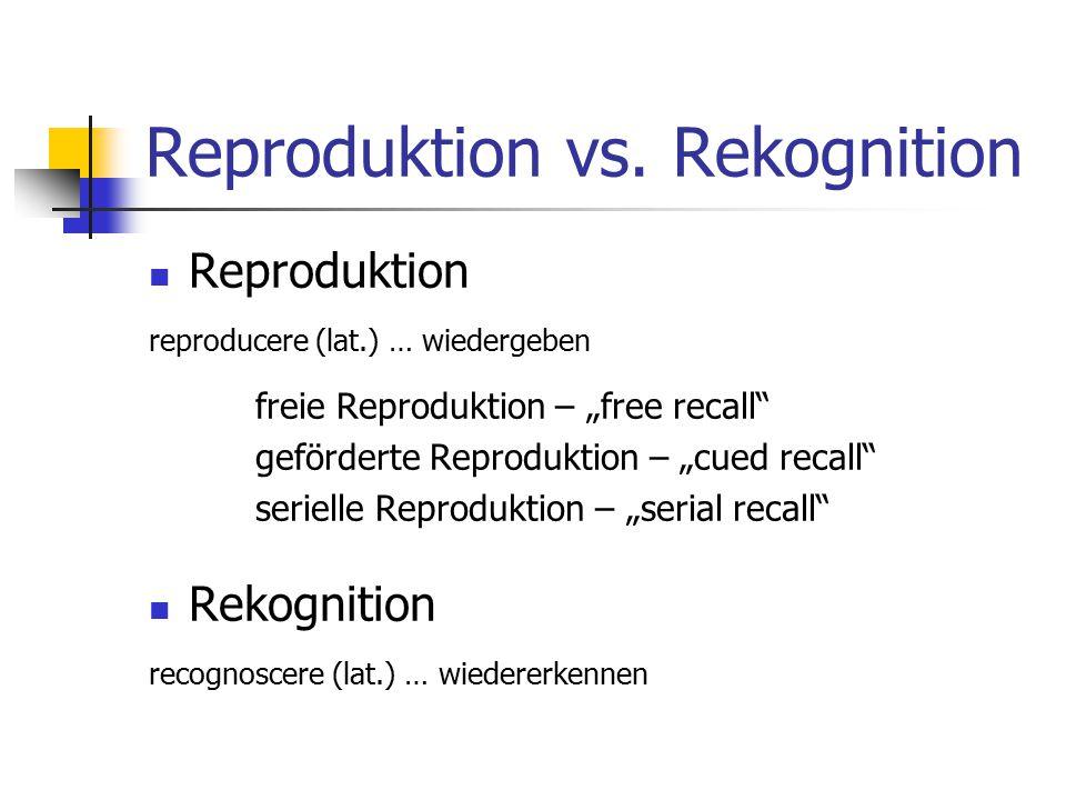 "Reproduktion vs. Rekognition Reproduktion reproducere (lat.) … wiedergeben freie Reproduktion – ""free recall"" geförderte Reproduktion – ""cued recall"""