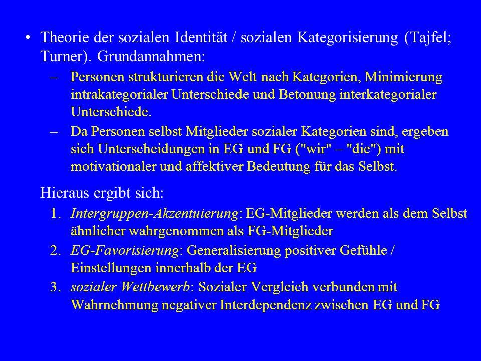 Theorie der sozialen Identität / sozialen Kategorisierung (Tajfel; Turner).